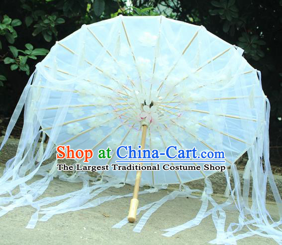 Handmade Chinese White Flowers Ribbon Silk Umbrella Traditional Classical Dance Decoration Umbrellas