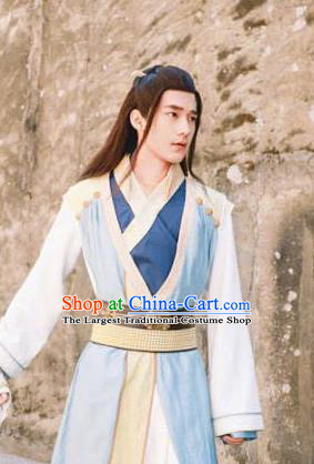 Ancient Chinese Swordsman Blue Hanfu Clothing Drama Jia Feng Xu Huang Kawaler Xie Qingyun Costumes for Men