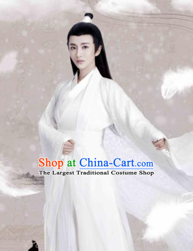Ancient Chinese Crown Prince White Hanfu Clothing Drama Jia Feng Xu Huang Swordsman Ye Qingge Costumes for Men