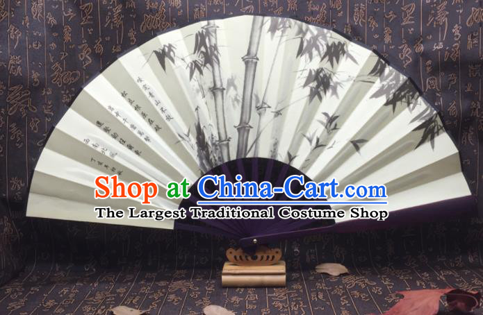 Chinese Handmade Ink Painting Bamboo Silk Fans Traditional Decoration Folding Fan