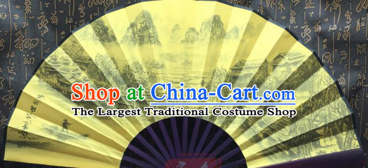Chinese Handmade Painting Landscape Yellow Silk Fans Traditional Decoration Folding Fan