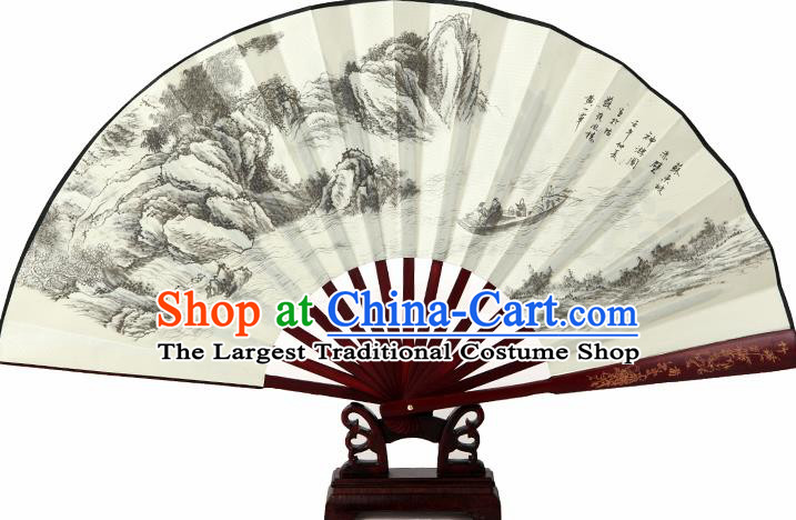 Chinese Handmade Painting Red Cliff Fans Accordion Fan Traditional Decoration Folding Fan