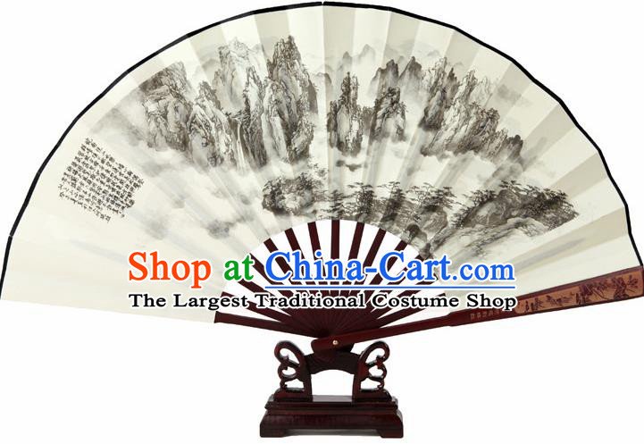 Chinese Handmade Painting Mountains Fans Accordion Fan Traditional Decoration Folding Fan