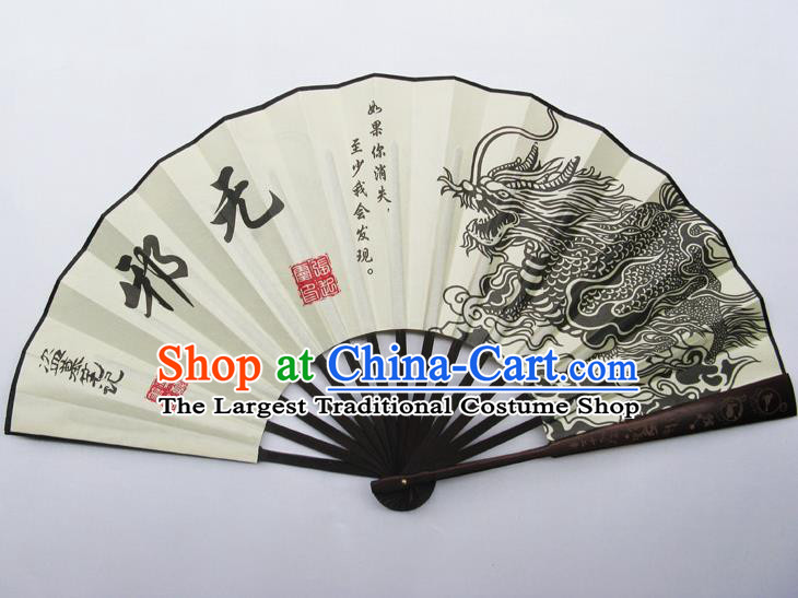 Chinese Handmade Painting Dragon Wu Xie Fans Accordion Fan Traditional Decoration Folding Fan