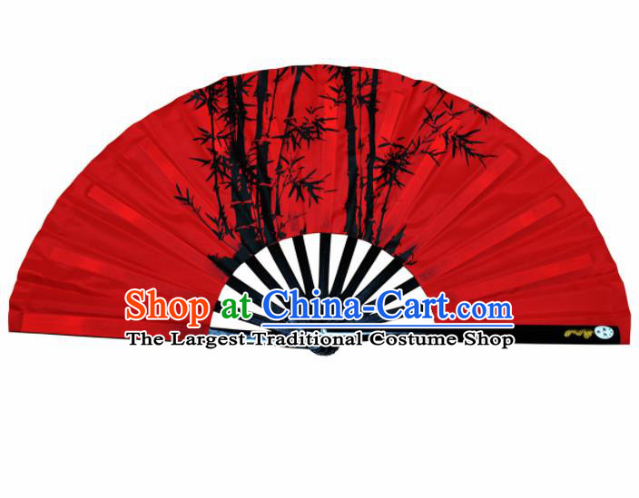 Chinese Handmade Printing Bamboo Red Kung Fu Fans Accordion Fan Traditional Decoration Folding Fan