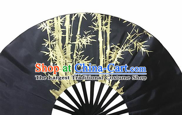Chinese Handmade Printing Bamboo Black Kung Fu Fans Accordion Fan Traditional Decoration Folding Fan