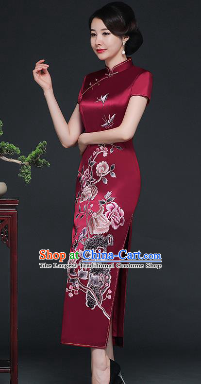 Traditional Chinese Embroidered Peony Purplish Red Silk Cheongsam Mother Tang Suit Qipao Dress for Women