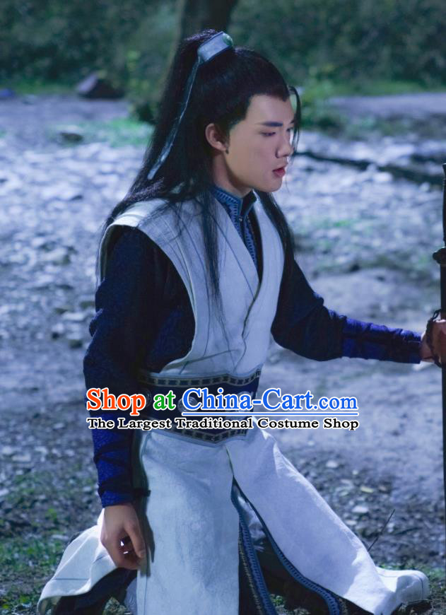 Ancient Chinese Prince Blue Clothing Drama Jia Feng Xu Huang Swordsman Xie Qingyun Costumes for Men