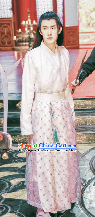 Ancient Chinese Knight Pink Clothing Drama Jia Feng Xu Huang Swordsman Xie Qingyun Costumes for Men