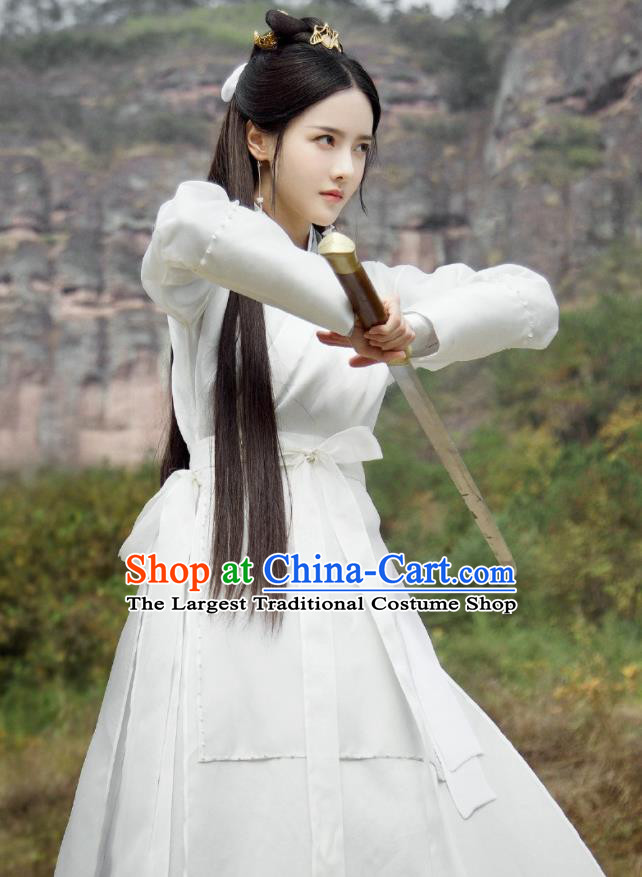 Chinese Ancient Female Swordsman Drama Love and Destiny Qing Yao Zhang Zhi Xi White Costumes and Headpiece for Women