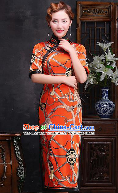 Traditional Chinese Printing Orange Silk Cheongsam Mother Tang Suit Qipao Dress for Women