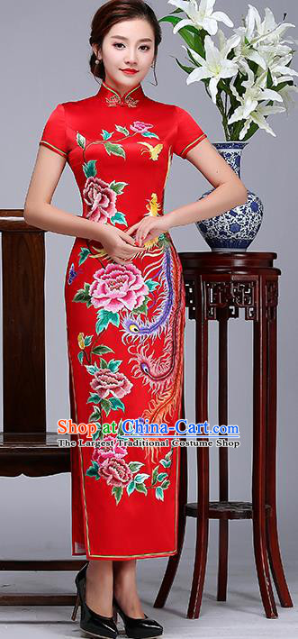 Traditional Chinese Embroidered Phoenix Peony Red Silk Cheongsam Mother Tang Suit Qipao Dress for Women