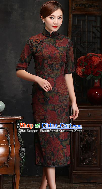 Traditional Chinese Printing Lotus Silk Cheongsam Mother Tang Suit Qipao Dress for Women