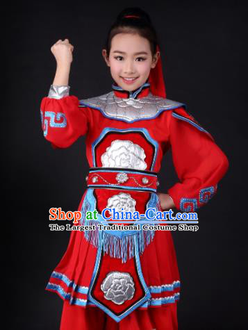 Traditional Chinese Classical Dance Hua Mulan Red Clothing Stage Show Costume for Kids