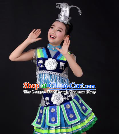 Traditional Chinese Child Miao Nationality Royalblue Short Skirt Ethnic Minority Folk Dance Costume and Headpiece for Kids