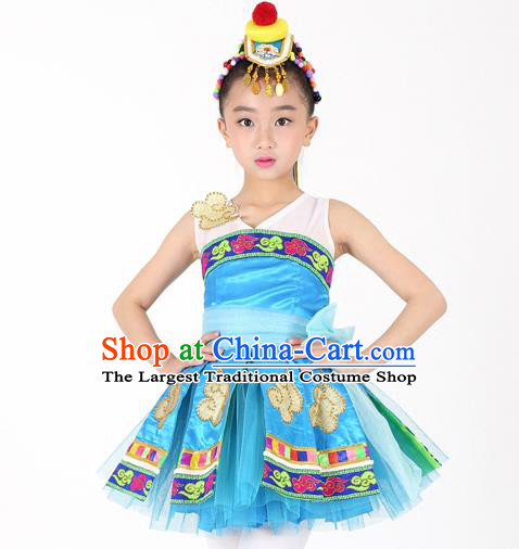 Traditional Chinese Child Mongol Nationality Blue Dress Ethnic Minority Folk Dance Costume for Kids