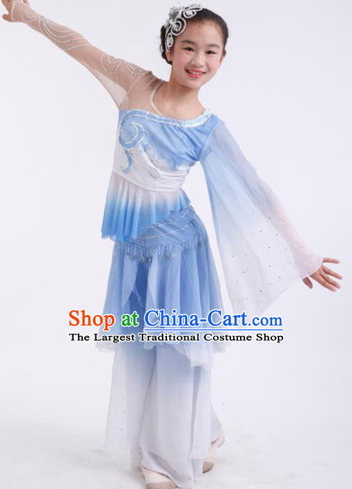 Traditional Chinese Folk Dance Fan Dance Blue Veil Clothing Yangko Dance Stage Show Costume for Kids