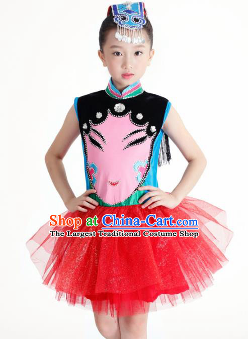 Traditional Chinese Children Classical Dance Red Veil Dress Stage Show Costume for Kids