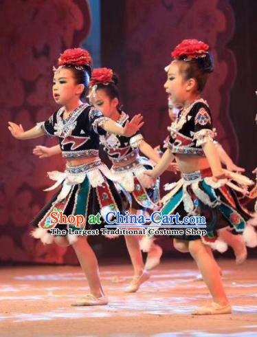 Traditional Chinese Child Dong Nationality Black Short Skirt Ethnic Minority Folk Dance Costume for Kids