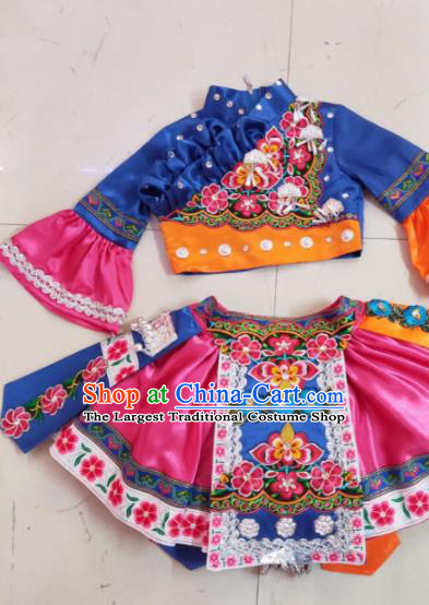 Traditional Chinese Child Yi Nationality Royalblue Short Skirt Ethnic Minority Folk Dance Costume for Kids