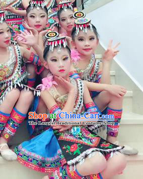 Traditional Chinese Child She Nationality Blue Short Skirt Ethnic Minority Folk Dance Costume for Kids