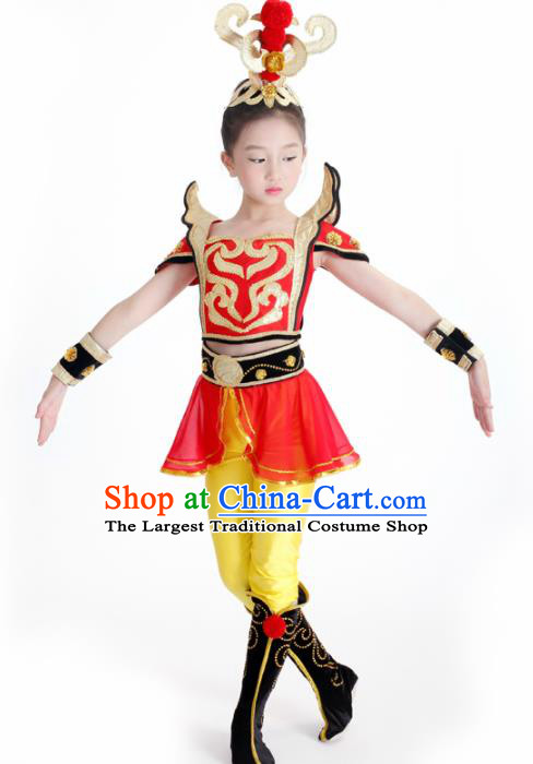Traditional Chinese Children Classical Dance Hua Mulan Red Dress Stage Show Costume for Kids