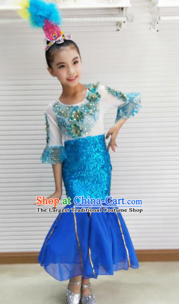 Traditional Chinese Child Dai Nationality Blue Dress Ethnic Minority Folk Dance Costume for Kids