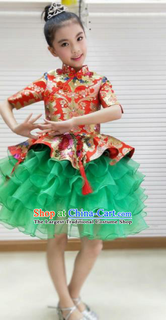 Traditional Chinese Folk Dance Spring Festival Fan Dance Dress Yangko Dance Stage Show Costume for Kids