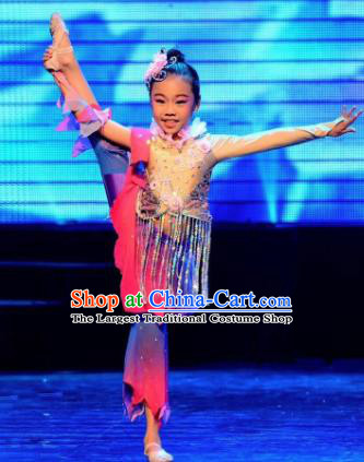 Traditional Chinese Children Classical Dance Short Dress Stage Show Costume for Kids
