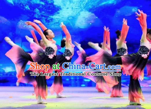 Traditional Chinese Children Classical Dance Lotus Dance Dress Stage Show Costume for Kids
