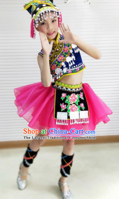 Traditional Chinese Child Yi Nationality Rosy Dress Ethnic Minority Folk Dance Costume for Kids