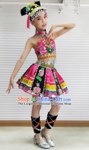 Traditional Chinese Child Yi Nationality Pink Skirt Ethnic Minority Folk Dance Costume for Kids