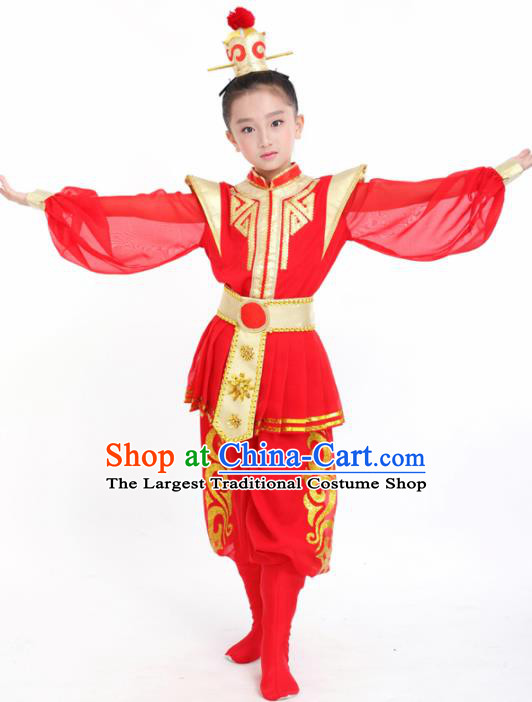 Traditional Chinese Children Classical Dance Hua Mulan Red Clothing Stage Show Costume for Kids