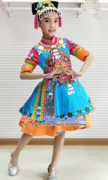 Traditional Chinese Child Mosuo Nationality Blue Dress Ethnic Minority Folk Dance Costume for Kids