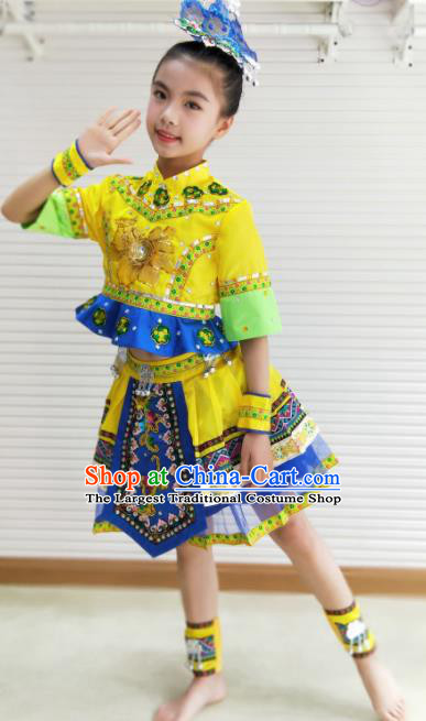 Traditional Chinese She Nationality Child Yellow Dress Ethnic Minority Folk Dance Costume for Kids