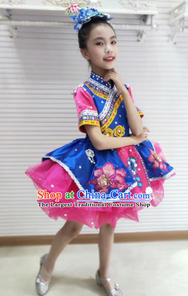 Traditional Chinese Tujia Nationality Child Rosy Dress Ethnic Minority Folk Dance Costume for Kids