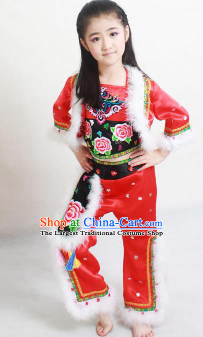 Traditional Chinese Folk Dance Red Outfits Spring Festival Fan Dance Yangko Dance Stage Show Costume for Kids