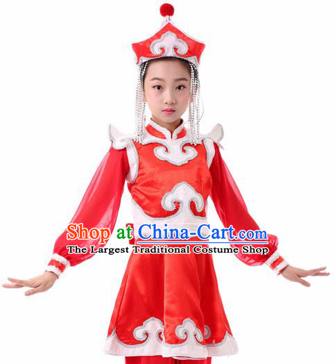 Traditional Chinese Child Mongol Nationality Red Clothing Ethnic Minority Folk Dance Costume for Kids