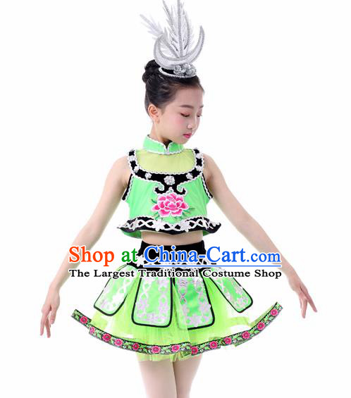 Traditional Chinese Child Miao Nationality Green Skirt Ethnic Minority Folk Dance Costume for Kids