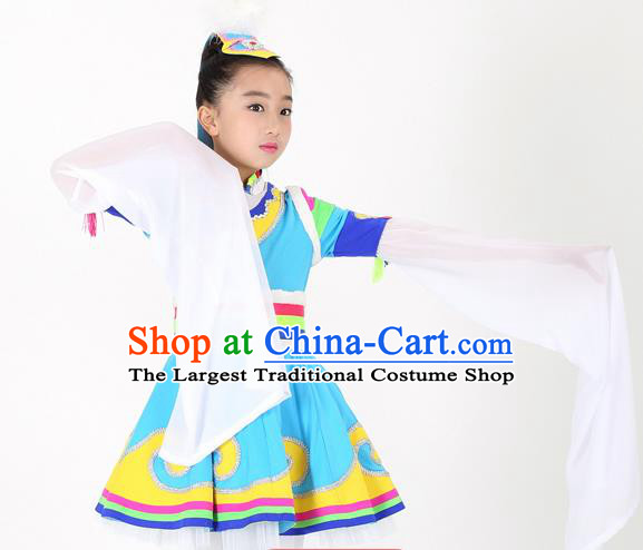 Traditional Chinese Child Zang Nationality Blue Skirt Ethnic Minority Folk Dance Costume for Kids