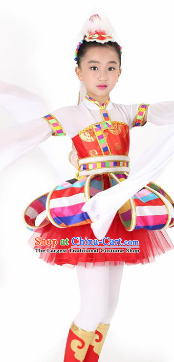 Traditional Chinese Child Tibetan Nationality Red Dress Ethnic Minority Folk Dance Costume for Kids