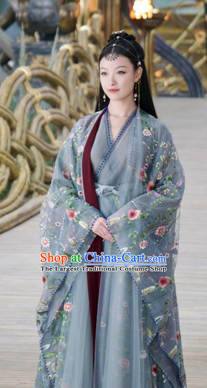 Chinese Ancient Peach Flower Goddess Embroidered Dress Drama Love and Destiny Princess Ling Xi NiNi Costumes and Headpiece for Women