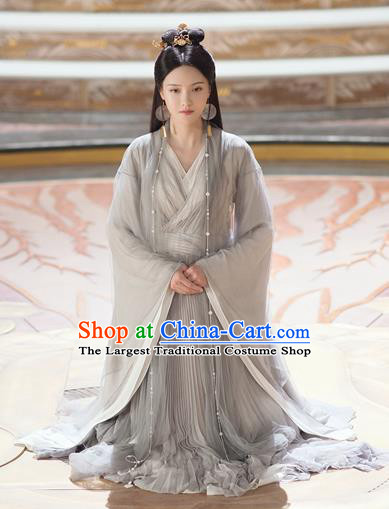 Chinese Ancient Swordswoman Grey Dress Drama Love and Destiny Princess Qing Yao Zhang Zhixi Costumes and Headpiece for Women
