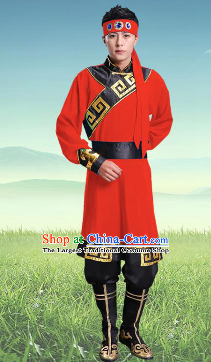 Traditional Chinese Mongol Nationality Red Clothing Ethnic Minority Folk Dance Costume for Men
