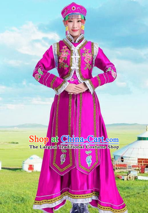 Traditional Chinese Mongol Nationality Rosy Dress Ethnic Minority Folk Dance Costume for Women