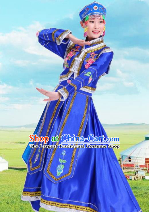Traditional Chinese Mongol Nationality Royalblue Dress Ethnic Minority Folk Dance Costume for Women