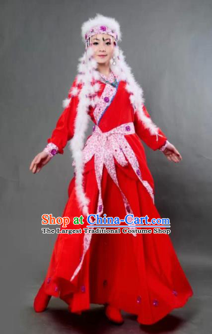 Traditional Chinese Mongol Nationality Princess Red Dress Ethnic Minority Folk Dance Costume for Women