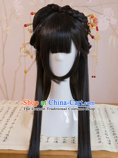 Traditional Chinese Han Dynasty Princess Wigs Cosplay Ancient Goddess Female Swordsman Chignon for Women