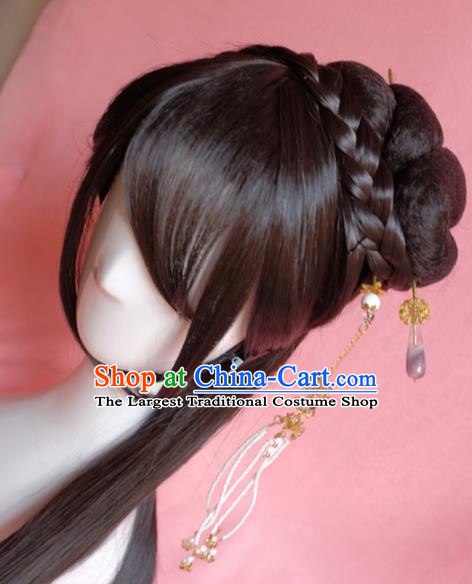 Traditional Chinese Ming Dynasty Nobility Lady Wigs Sheath Cosplay Ancient Goddess Female Swordsman Chignon for Women