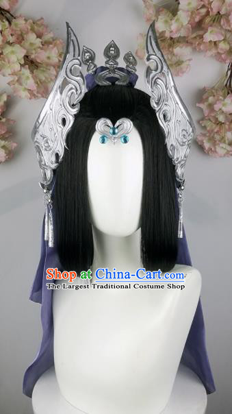 Traditional Chinese Cosplay Fairy Wigs Sheath Ancient Female Swordsman Chignon and Hair Accessories for Women